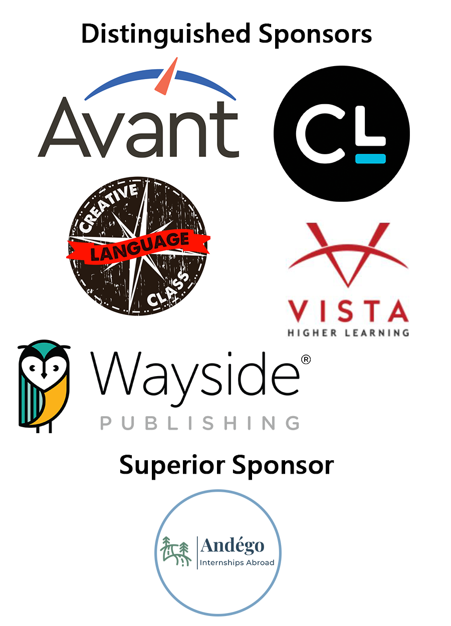 PNCFL conference distinguished sponsors: Avant, Creative Language Classroom, Carnegie Learning, Vista higher learning, Wayside publishing. Superior Sponsor: Andégo